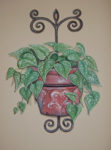 Terra Cotta And Wrought Iron Planter