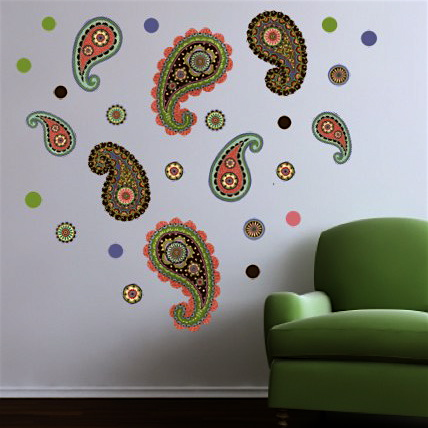 Paisley and Dots Movable Mural